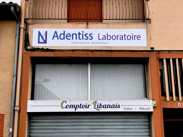 Enseignes Traiteur et Prothesiste dentaire - Panneau en aluminium imprimés et pelliculés - Toulouse - Blagnac